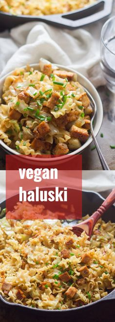 Cabbage and onions are stir-fried with noodles, sauerkraut, and smoky tofu to make this comforting and delicious vegan haluski.