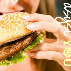 Photo about Happy woman in a restaurant eating a fast food hamburger, focus on the burger. Image of lunch, lettuce, hungry - 22211293 Home Remedies For Dandruff, Fast Food, High Fat Diet, Nutrition, Protein Diets, High Protein, Binge Eating, Foods To Avoid, How To Eat Less