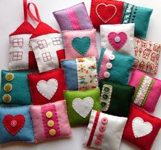 These are lavender sachets, but I think they would make very cute little bean bags for hop scotch or bean bag games