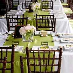 the elegant combination of the green with white linens and pastel florals against the dark chivarri chairs, it all just works Reception Decorations, Reception Table, Reception Ideas, Decoration Table, Our Wedding, Friend Wedding, Casual Wedding, Wedding Events, Wedding Ideas