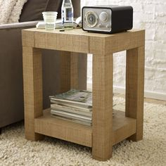 Parsons End Table - Natural Grass Cloth | west elm