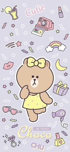 Lines Wallpaper, Kawaii Wallpaper, Wallpaper Backgrounds, Teddy Bear Cartoon, Cute Cartoon, Kakao Friends, Friends Wallpaper, Line Friends, Bear Art