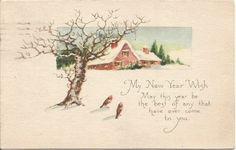 Birds in Meadow Beautiful Winter Scene New by postcardsintheattic @butterflysattic