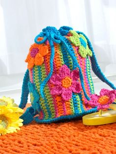 Striped Drawstring Tote | Yarn | Free Knitting Patterns | Crochet Patterns | Yarnspirations