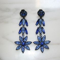 Garland Collects vintage electric blue rhinestone Thelma Deutsch earrings. 1980s.