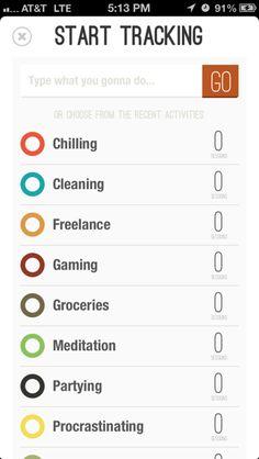 Track My Time iPhone lists screenshot