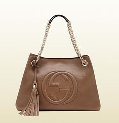 soho medium maple brown leather tote with chain straps. Love it in pink!