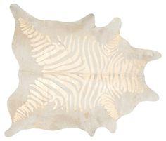 "6'x7'6"" Devore Zebra Hide, Beige/Gold"