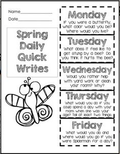 Quick writes grade writing prompts, second grade writing prompts, writing prompts for kids Writing Prompts Romance, Writing Prompts Funny, Writing Prompts For Kids, Writing Lessons, Writing Resources, Writing Practice, Writing Activities, Creative Writing, Writing Ideas