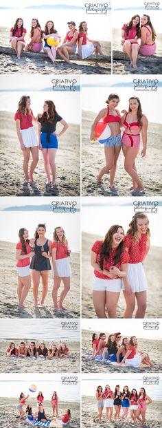 Vintage beach styled shoot in Seattle. High school senior models for Criativo Photography. www.criativophoto.com #senior #portraits #group #poses