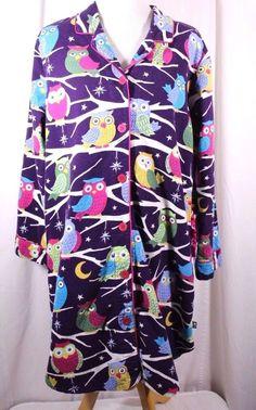 Nick & Nora Size XL Flannel Owl L/S Button Front Sleep Shirt #NickNora #SleepShirt