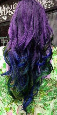 Purples black, and blue hair