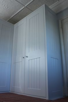 Tongue and groove shaker style fitted wardrobe - to suit guest bedroom? Hallway Cupboards, Mdf Cabinets, Built In Cupboards, Bedroom Cupboards, Hallway Storage, Built In Bookcase, Bedroom Wardrobe, Wardrobe Doors, Built In Wardrobe