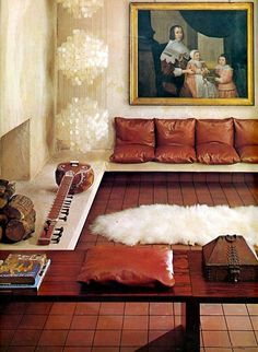 oil painting, capiz shell pendant, leather cushions and tile floor (1971)