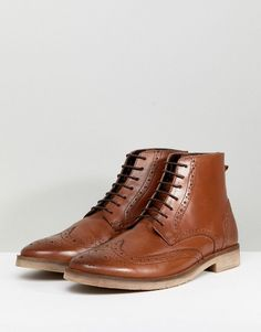 fe1609cab9f9d ASOS Wide Fit Lace Up Brogue Boots In Tan Leather With Natural Sole -  Roller Derby