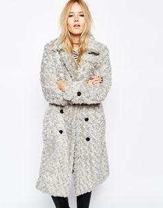 Story Of Lola Longline Teddy Bear Faux Fur Coat In Textured Fur