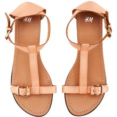 H&M Leather sandals ($37) ❤ liked on Polyvore featuring shoes, sandals, flats, sapatos, обувь, h&m sandals, genuine leather shoes, leather shoes, h&m flats and h&m shoes