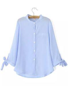 Blue Long Sleeve Bow Chiffon Blouse