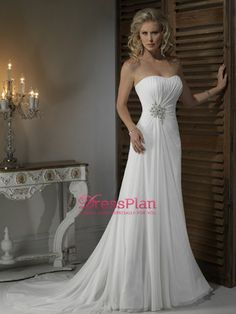 Wonderful Chiffon Sheath Strapless Wedding Dress with Rouched Bodice, 160USD custom tailored including shipping