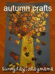 Autumn jigsaw puzzle tree and sensory tub (and more autumn crafts) http://sunnydaytodaymama.blogspot.co.uk/2012/09/autumn-jigsaw-puzzle-tree-and-sensory.html
