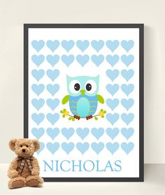Baby Shower/ New Baby Boy Owl Guestbook  - Hearts 11x14 Print  -Nursery Decor- Baby Shower  Decoration- Nursery Owl Print on Etsy, $24.00