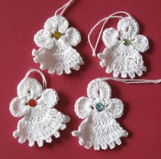 Set of four handcrocheted angels van SnowflakeMotifs op Etsy Holiday Crochet, Crochet Home, Crochet Gifts, Christmas Arts And Crafts, Christmas Angels, Christmas Ornaments, Crochet Bookmarks, Crochet Ornaments, Baby Knitting Patterns