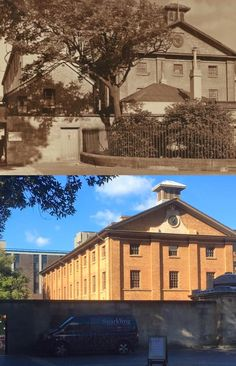 Hyde Park Barracks viewed from Queens Square > [Historic Houses Trust > Phil Harvey. By Phil Harvey] Historical Sites, Historical Photos, Hyde Park Barracks, Phil Harvey, Then And Now Photos, Sydney City, Historic Houses, Sydney Australia, Present Day