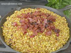 bacon fried corn in skillet