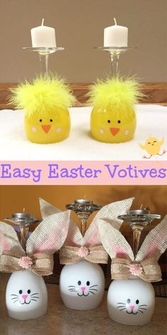 Easy Dollar Store DIY Easter Bunny and Chick wine glass votive centerpieces. The Best Easy DIY Easter Decoration Ideas. decor diy dollar stores Easy Dollar Store DIY Easter Decor Ideas That Look Store Bought Easter Projects, Easter Crafts For Kids, Fun Easter Ideas, Fun Ideas, Diy Projects, Party Ideas, Diy Osterschmuck, Easy Diy, Spring Crafts