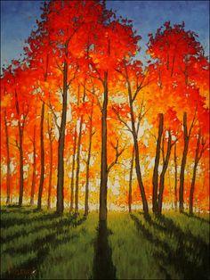 to New Heights Anton Pavlenko: Painting to New Heights.Anton Pavlenko: Painting to New Heights. Fall Tree Painting, Aspen Trees, Autumn Trees, Autumn Forest, Watercolor Paintings, Tree Paintings, Fall Paintings, Painting Art, Watercolors