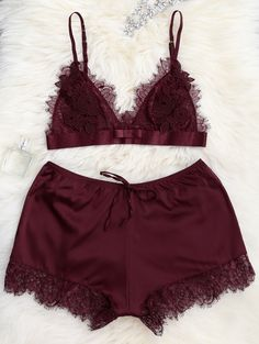 Lace Seamless Bra with Pajama Shorts - WINE RED L