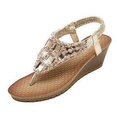 Amazon.fr   Bottes   Boots Femme s. Tong CompenséeChaussures Plate-forme Sandales ... e30903ef4d3d