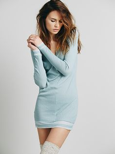 Free People Livin in a Dream Thermal Tranquil color, ribbed. love the high socks too, looks cozy