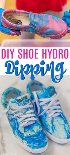 Today we are going to show you how to hydro dip shoes! It is super easy and turns out with a gorgeous design. Spray Paint Shoes, Spray Paint Canvas, Diy Spray Paint, Painting Canvas, Fabric Painting, How To Make Floam, Diy Hydro Dipping, Photo Transfer To Wood, Paint Dipping