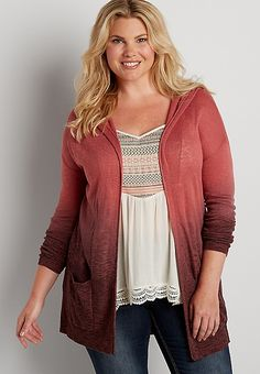 plus size dip dyed lightweight hooded cardigan | maurices