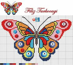 Graph pattern for brightly coloured butterfly cross stitchButterfly cross stitch and chart. Start their crafting interests.visuelles Ergebnis des bösen Auges des Kreuzstichs – Diana Carolina – Join the world of pinDiscover thousands of images ab Cross Stitch Charts, Cross Stitch Designs, Cross Stitch Patterns, Cross Stitching, Cross Stitch Embroidery, Butterfly Cross Stitch, Bead Loom Patterns, Beading Patterns, Cross Stitch Animals