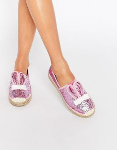 Pink Glitter Bunny Eared Cute To The Core Thumpy Espadrilles