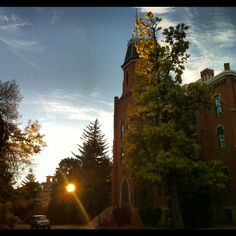 Mornings are beautiful on campus.  Old main in the fall morning sunlight.