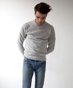 Men's Heather Grey Organic Crewneck Sweatshirt by Victor Athletics