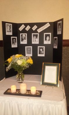 another picture of the memorial table i designed and decorated reunion decorationsclass reunion ideasprize