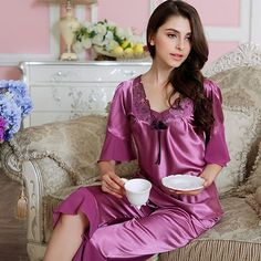 Masaling Womens Short Sleeve V Neck Silk Lace 2 Piece Pajamas Nightgown Sets at Amazon Women's Clothing store: