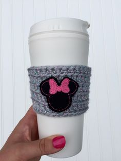Minnie Mouse cup cozy, Minnie Mouse gift, Disney fan gift, Disney vacation, coffee lover, Walt Disney world     personal favorite from my Etsy shop https://www.etsy.com/listing/464928691/coffee-cup-cozy-crochet-cozy-with-minnie