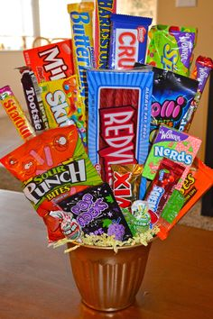 DIY Candy Gift Bucket ~ Candy buckets can be made for themed parties, holidays, or any special occasion by choosing different kinds of candy
