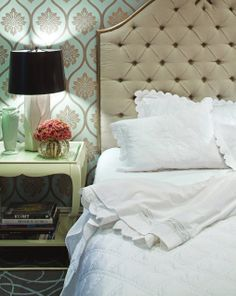 I REALLY want a fabric headboard. I also LOVE the color and pattern of the art deco inspired wallpaper.