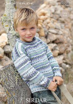 Sirdar Knitting Pattern 2256 in Crofter DK Yarn Sirdar Knitting Patterns, Jumper Knitting Pattern, Jumper Patterns, Baby Knitting, Easy Knit Hat, Knitting Supplies, How To Start Knitting, Boys Sweaters, Yarn Shop
