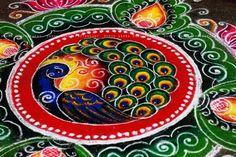 Bringing colours to life Noisy Pilgrims Rangoli Designs Peacock, Rangoli Designs Latest, Simple Rangoli Designs Images, Rangoli Border Designs, Colorful Rangoli Designs, Rangoli Designs Diwali, Beautiful Rangoli Designs, Kolam Designs, Diwali Rangoli