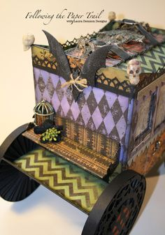 Laura Denison as Following the Paper Trail with Carriage Ride using Tim Holtz's Halloween Laboratorie collection; Sept 2013 - just love it