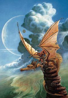 "Achilleos Art - Fantasy THE SENTINEL 1979 Bookcover illustration for ""Dragonquest"", by Anne MacCaffrey."