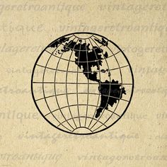 Large high resolution digital antique Earth globe clip art illustration graphic from vintage artwork for printing, iron on transfers, and more.