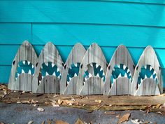 Upcycled Shark, made of recycled  wood.  JAWS, Great White, outdoor art. $28.00, via Etsy.